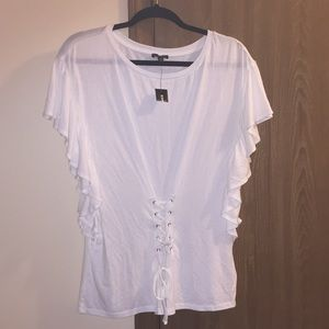Unique white top by Express size medium